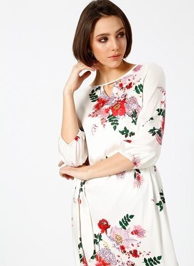 Fabrika Çiçekli Midi Elbise Renkli